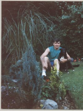 David Jones in the garden with his dog 1998